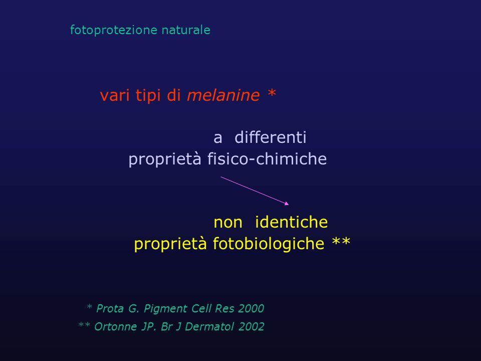 vari tipi di melanine * a differenti proprietà fisico-chimiche non identiche proprietà fotobiologiche ** * Prota G. Pigment Cell Res 2000 ** Ortonne J