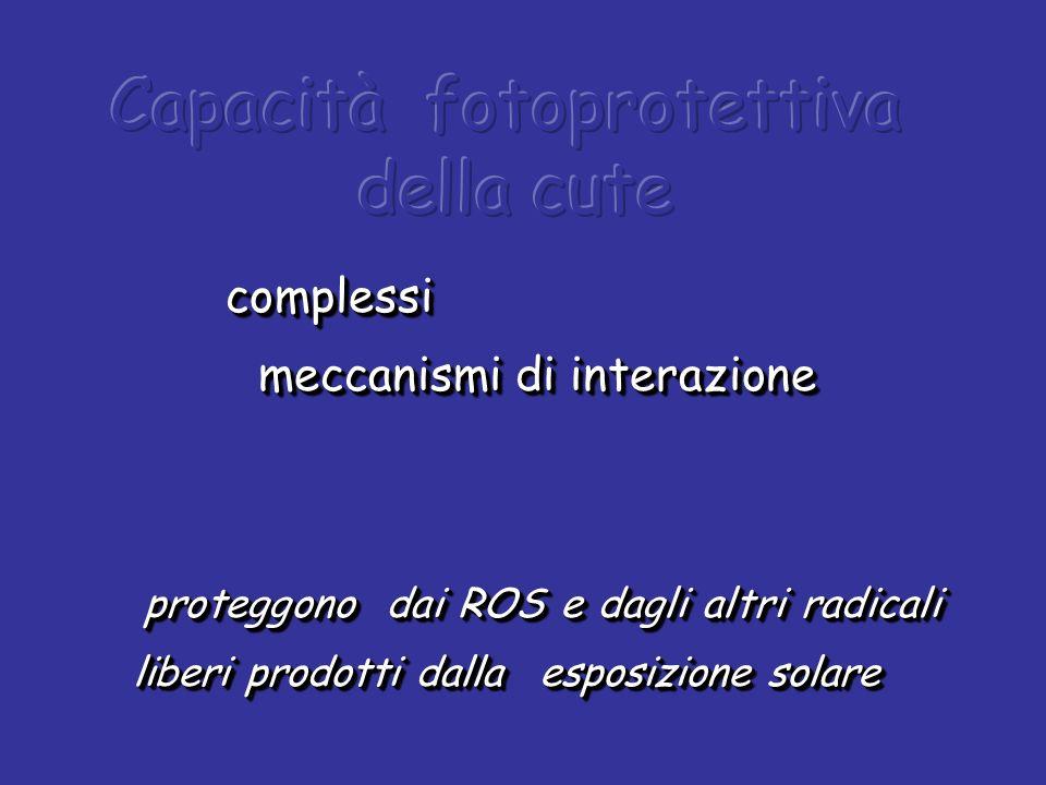 complessi meccanismi di interazione meccanismi di interazione proteggono dai ROS e dagli altri radicali liberi prodotti dalla esposizione solare prote