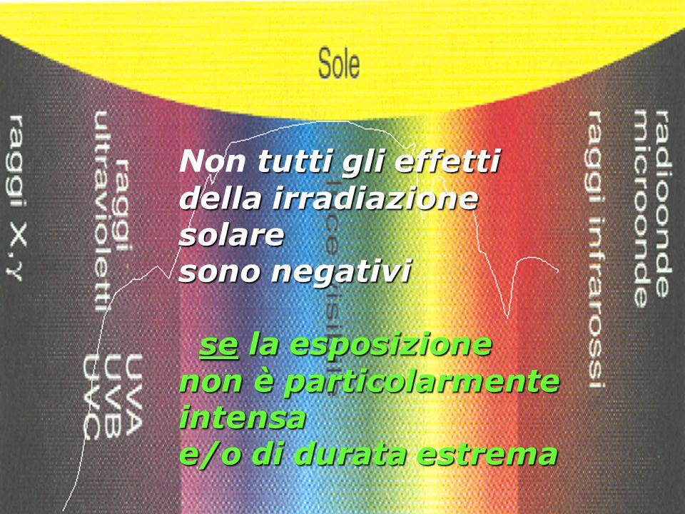tutti gli effetti Non tutti gli effetti della irradiazione solare sono negativi se la esposizione non è particolarmente intensa se la esposizione non