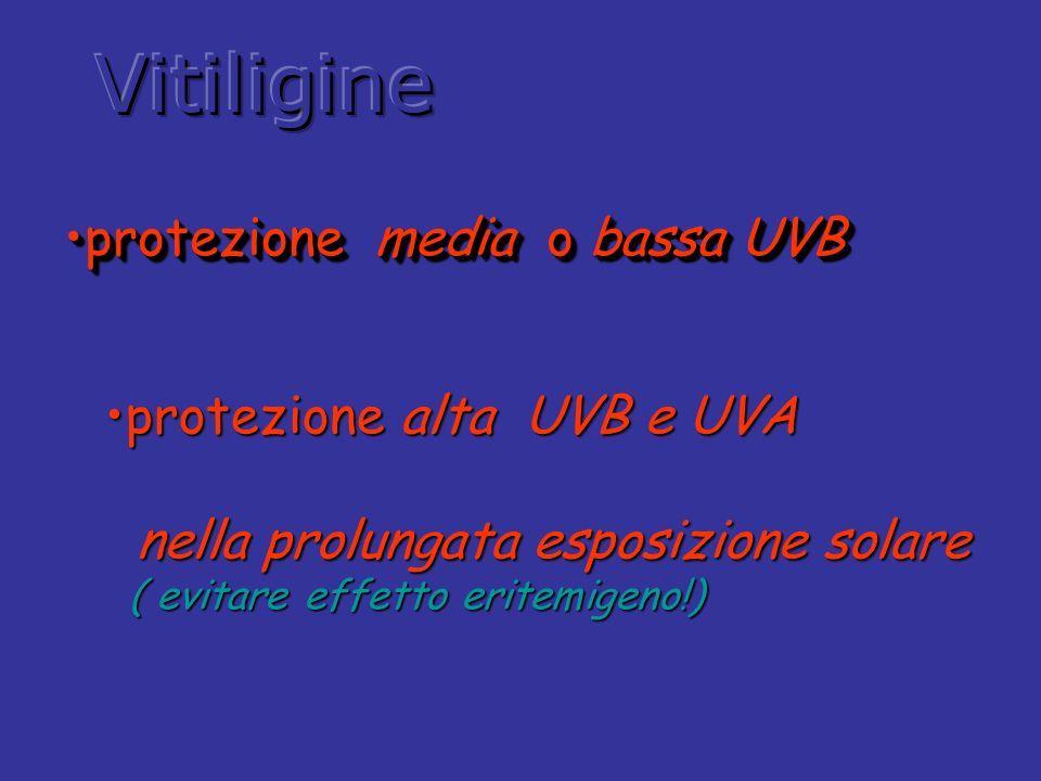protezione media o bassa UVBprotezione media o bassa UVB protezione media o bassa UVBprotezione media o bassa UVB protezione alta UVB e UVAprotezione