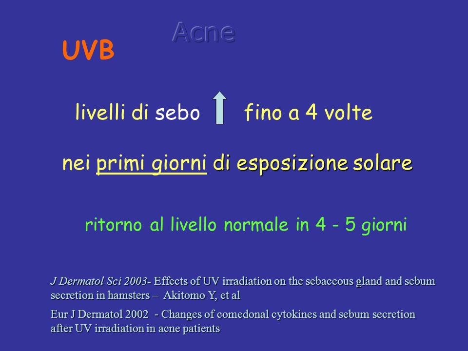 ritorno al livello normale in 4 - 5 giorni livelli di sebo fino a 4 volte di esposizione solare nei primi giorni di esposizione solare UVB Eur J Derma