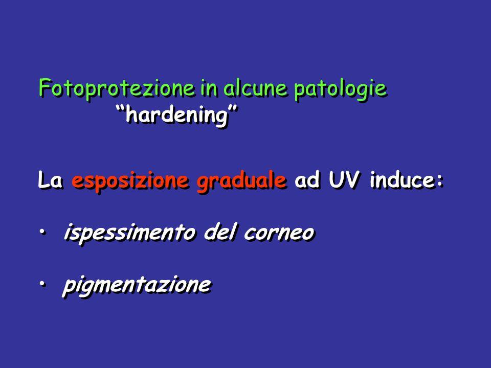 Fotoprotezione in alcune patologie hardening La esposizione graduale ad UV induce: ispessimento del corneo pigmentazione Fotoprotezione in alcune pato