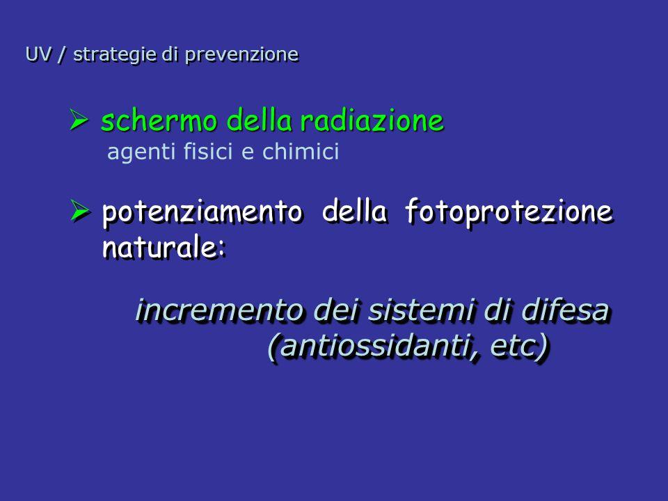 UV / strategie di prevenzione potenziamento della fotoprotezione naturale: incremento dei sistemi di difesa (antiossidanti, etc) (antiossidanti, etc)