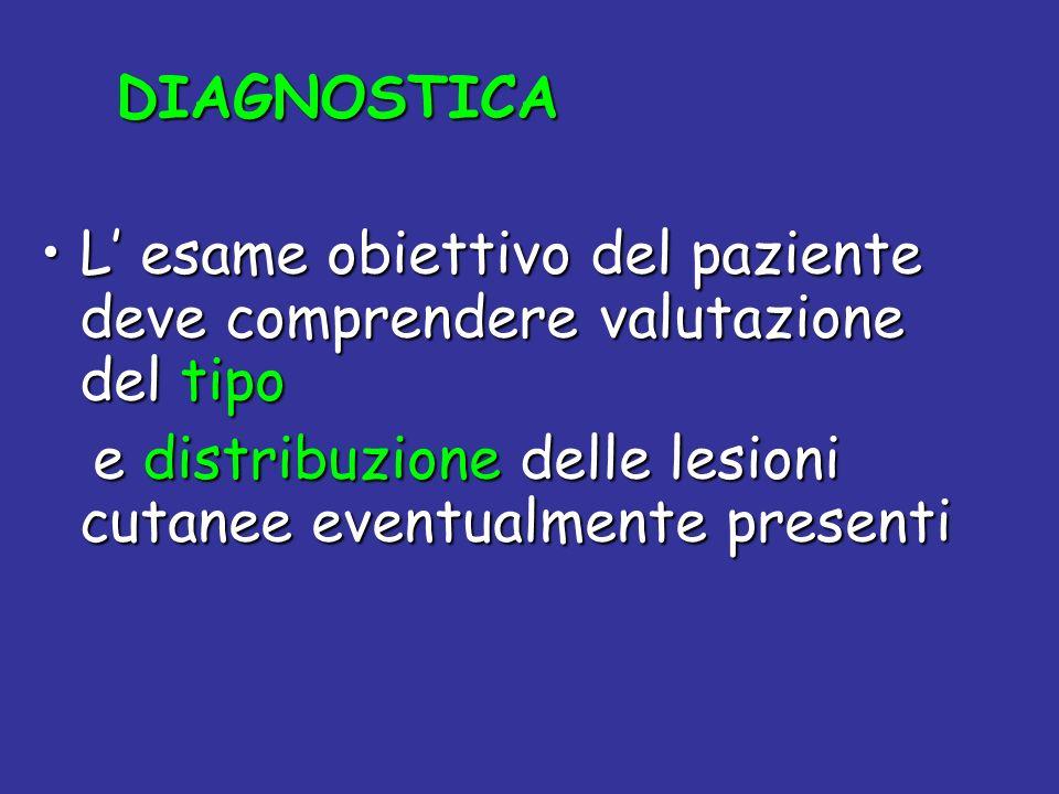 DIAGNOSTICA DIAGNOSTICA L esame obiettivo del paziente deve comprendere valutazione del tipoL esame obiettivo del paziente deve comprendere valutazion
