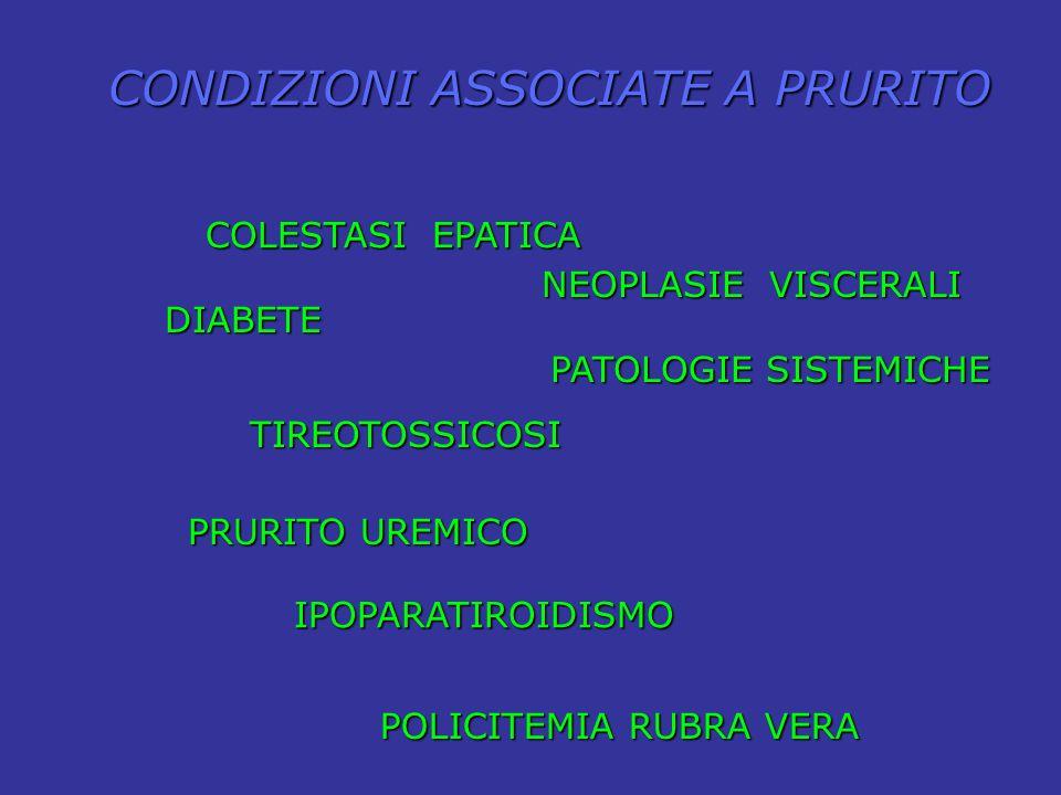 COLESTASI EPATICA DIABETE DIABETE TIREOTOSSICOSI IPOPARATIROIDISMO PRURITO UREMICO POLICITEMIA RUBRA VERA CONDIZIONI ASSOCIATE A PRURITO NEOPLASIE VIS