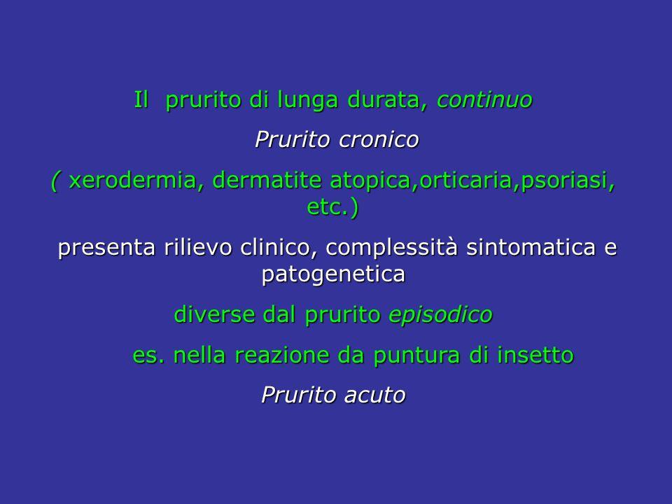 Il prurito di lunga durata, continuo Prurito cronico Prurito cronico ( xerodermia, dermatite atopica,orticaria,psoriasi, etc.) presenta rilievo clinic