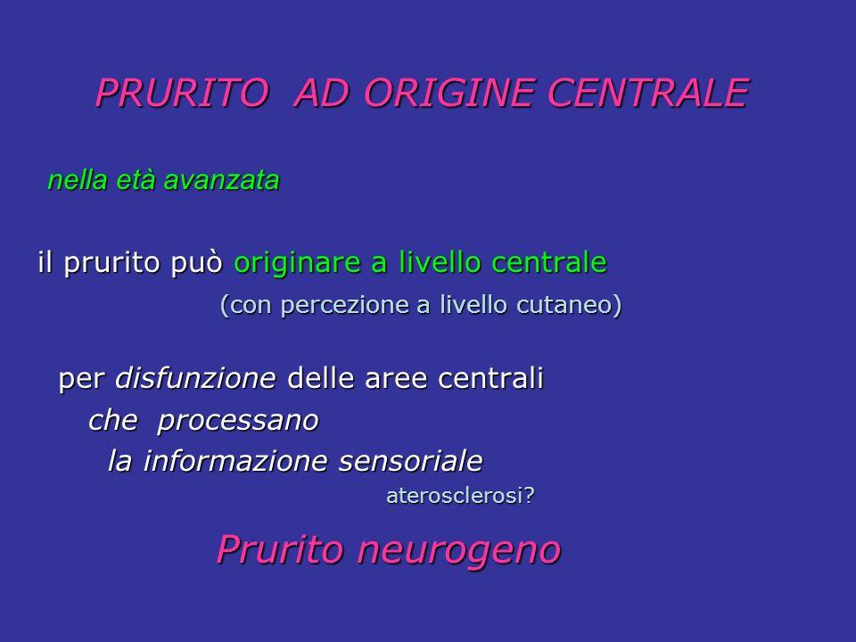 nella età avanzata nella età avanzata il prurito può originare a livello centrale (con percezione a livello cutaneo) (con percezione a livello cutaneo