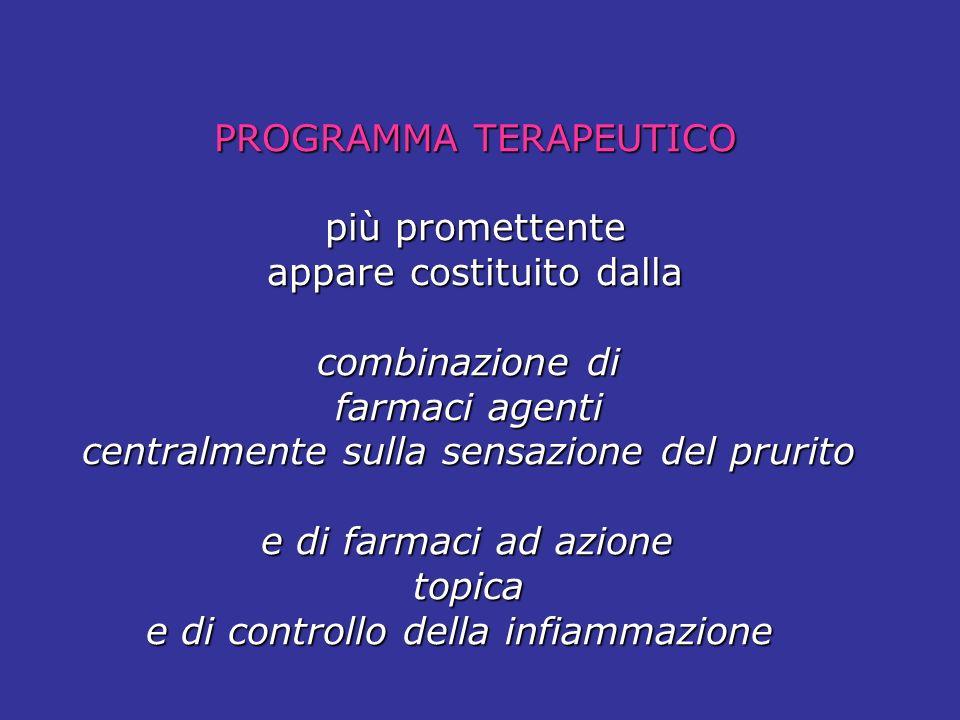 PROGRAMMA TERAPEUTICO PROGRAMMA TERAPEUTICO più promettente più promettente appare costituito dalla appare costituito dalla combinazione di combinazio