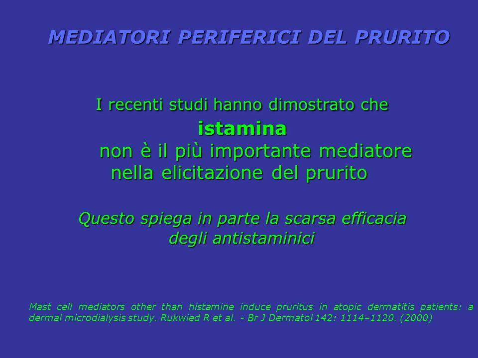 NeuropepetidiSerotoninaAcetilcolina Bradichinina BradichininaProstaglandine Mediatori di recente identificati di recente identificati o in precedenza trascurati Proteasi NeurotrofineCitochineEndocannabinoidiOppioidi The neurobiology of itch Ikoma A.- Nature Reviews Neuroscience 7, 535-547 (July 2006) | hanno un ruolo nel prurito a parte l istamina