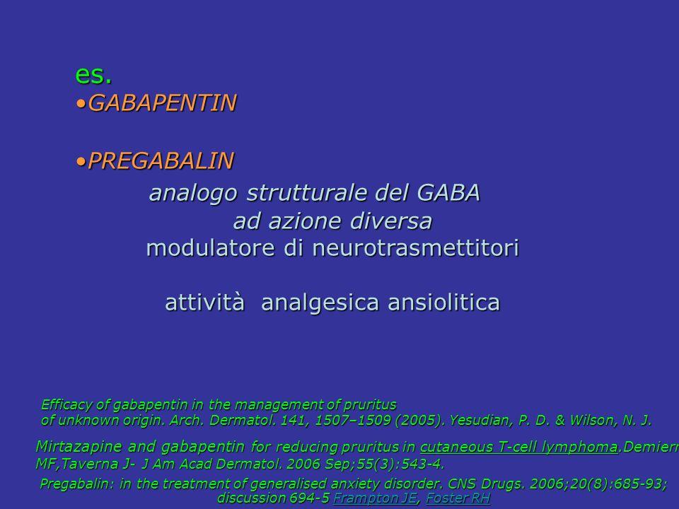 es. GABAPENTINGABAPENTIN PREGABALINPREGABALIN analogo strutturale del GABA analogo strutturale del GABA ad azione diversa modulatore di neurotrasmetti