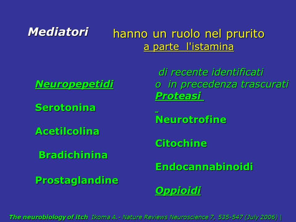 NeuropepetidiSerotoninaAcetilcolina Bradichinina BradichininaProstaglandine Mediatori di recente identificati di recente identificati o in precedenza