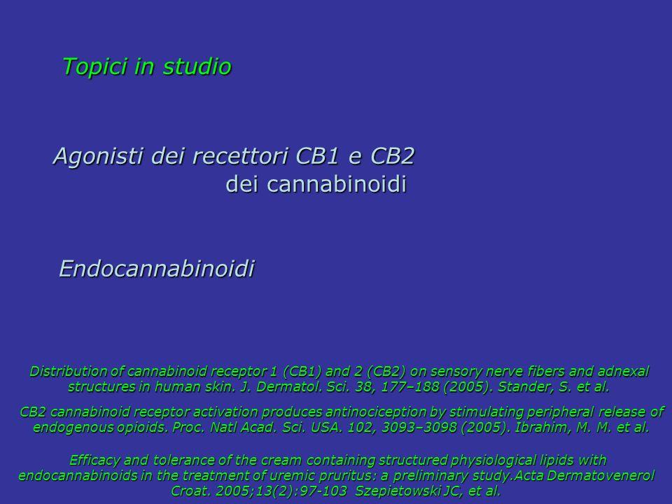 Topici in studio Topici in studio Agonisti dei recettori CB1 e CB2 Agonisti dei recettori CB1 e CB2 dei cannabinoidi dei cannabinoidi Endocannabinoidi
