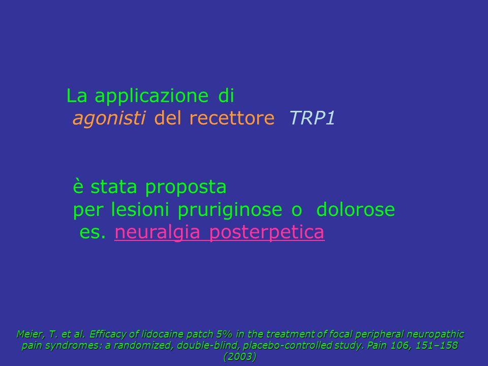 La applicazione di agonisti del recettore TRP1 è stata proposta per lesioni pruriginose o dolorose es. neuralgia posterpetica Meier, T. et al. Efficac
