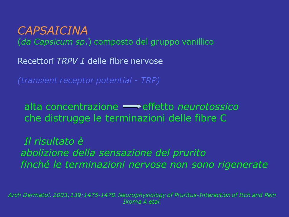 CAPSAICINA (da Capsicum sp.) composto del gruppo vanillico Recettori TRPV 1 delle fibre nervose (transient receptor potential - TRP) Arch Dermatol. 20