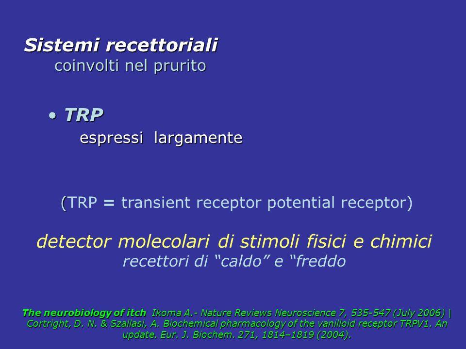 TRPV1 TRPV1 neuroni afferenti primari neuroni afferenti primari cheratinociti - cellule dendritiche –mastociti attivazione rilascio di neuropeptidi e citochine citochine The vanilloid receptor: a molecular gateway to the pain pathway.