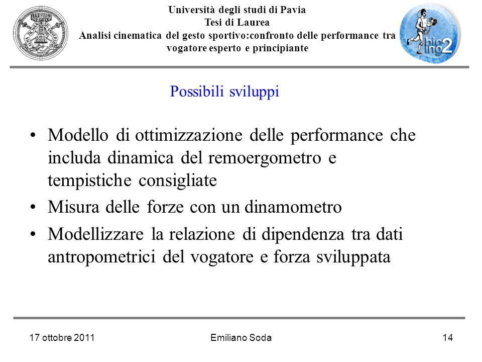 17 ottobre 2011Emiliano Soda14 Università degli studi di Pavia Tesi di Laurea Analisi cinematica del gesto sportivo:confronto delle performance tra vo