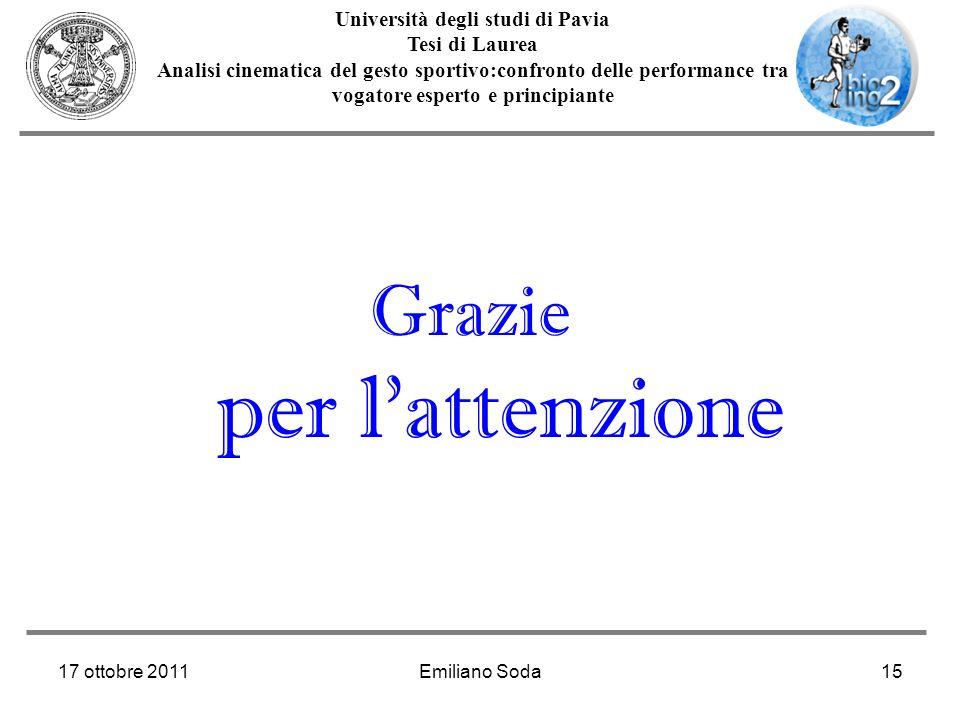 17 ottobre 2011Emiliano Soda15 Università degli studi di Pavia Tesi di Laurea Analisi cinematica del gesto sportivo:confronto delle performance tra vo