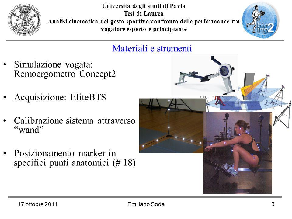 17 ottobre 2011Emiliano Soda3 Università degli studi di Pavia Tesi di Laurea Analisi cinematica del gesto sportivo:confronto delle performance tra vog