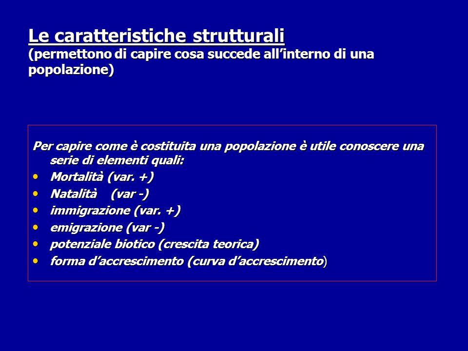 Le caratteristiche strutturali (permettono di capire cosa succede allinterno di una popolazione) Per capire come è costituita una popolazione è utile conoscere una serie di elementi quali: Mortalità (var.