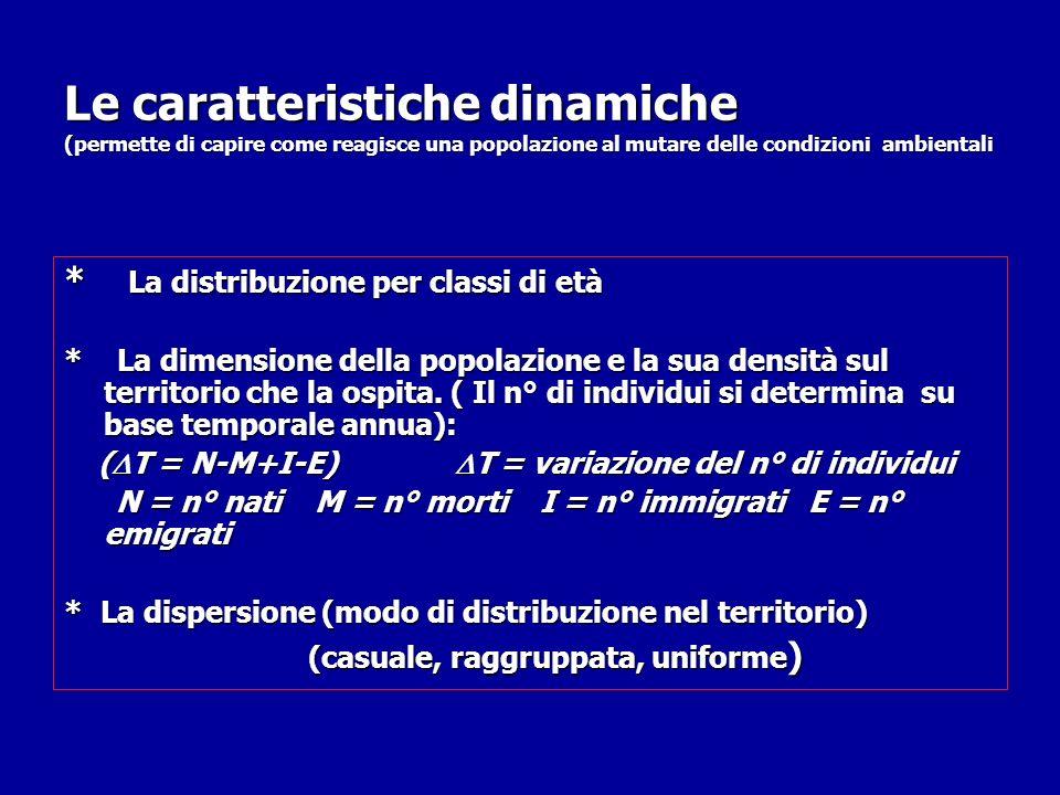 Le caratteristiche dinamiche (permette di capire come reagisce una popolazione al mutare delle condizioni ambientali * La distribuzione per classi di età * La dimensione della popolazione e la sua densità sul territorio che la ospita.