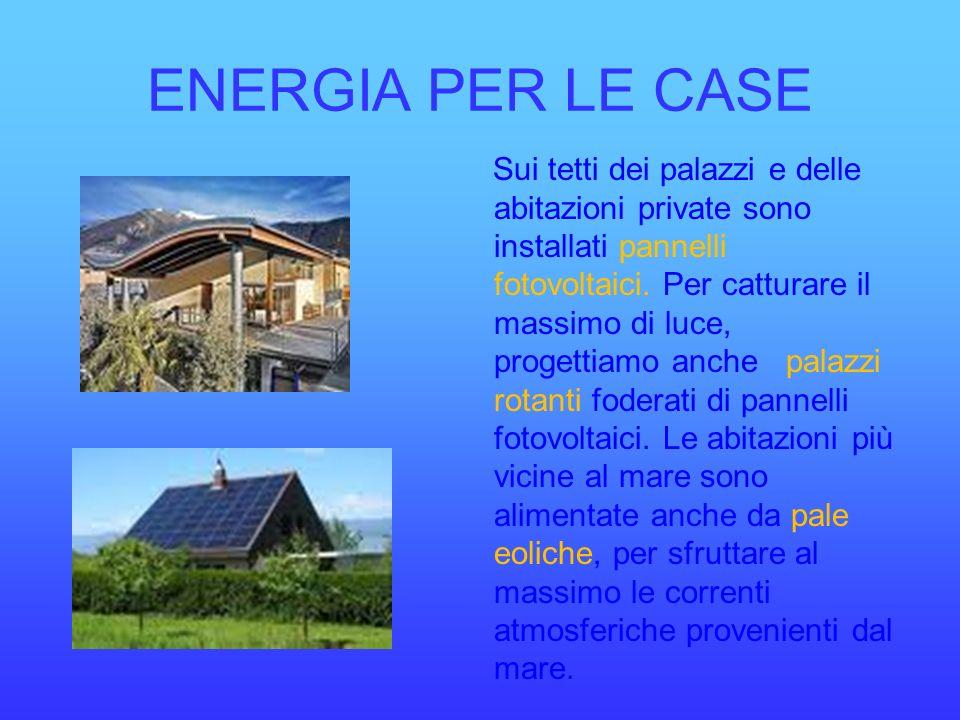 ENERGIA PER LE CASE Sui tetti dei palazzi e delle abitazioni private sono installati pannelli fotovoltaici. Per catturare il massimo di luce, progetti