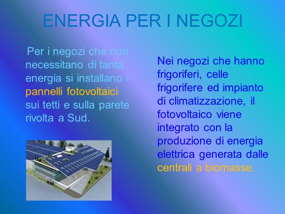 ENERGIA PER I NEGOZI Per i negozi che non necessitano di tanta energia si installano i pannelli fotovoltaici sui tetti e sulla parete rivolta a Sud. N