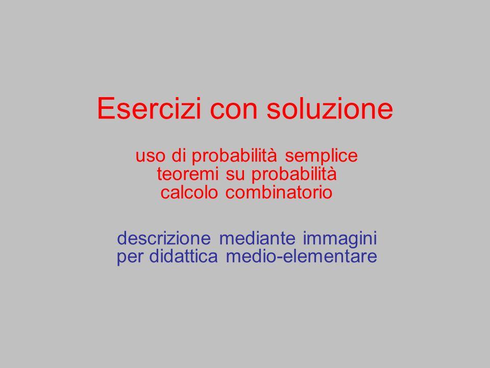 Esercizi con soluzione uso di probabilità semplice teoremi su probabilità calcolo combinatorio descrizione mediante immagini per didattica medio-eleme