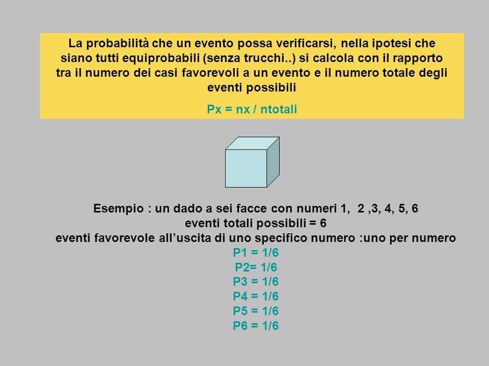 La probabilità che un evento possa verificarsi, nella ipotesi che siano tutti equiprobabili (senza trucchi..) si calcola con il rapporto tra il numero