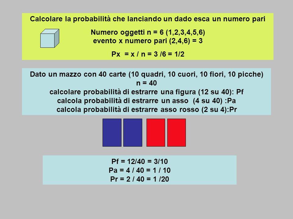 Calcolare la probabilità che lanciando un dado esca un numero pari Numero oggetti n = 6 (1,2,3,4,5,6) evento x numero pari (2,4,6) = 3 Px = x / n = 3