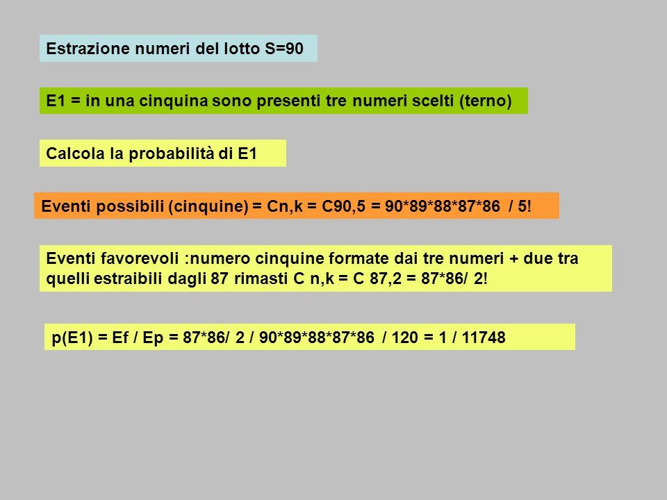 486/38 Lancio di un dado (1,2,3,4,5,6) E12 = uscita numero pari o > 2 (2,4,6…3,4,5,6)..(4,6) E1 = uscita numero maggiore di 2 (3,4,5,6) n 23 54 6 E2 = uscita numero pari (2,4,6) P(E12) = p(E1) + p(E2) – p(E1 E2) = 4/6 + 3/6 – 2/6 = 5/6 P(E1) = 4/6 P(E2)= 3/6 P(E12) = 2/6