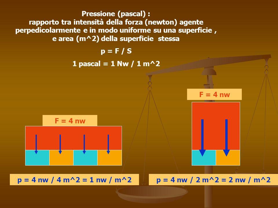 F Sp = F / S Principio di Pascal : la pressione esercitata su un liquido si trasmette inalterata in seno al liquido e si esercita perpendicolarmente a qualsiasi superficie interagente con il liquido (pareti comprese…)