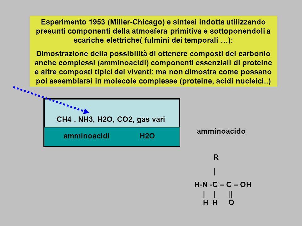 Esperimento 1953 (Miller-Chicago) e sintesi indotta utilizzando presunti componenti della atmosfera primitiva e sottoponendoli a scariche elettriche(