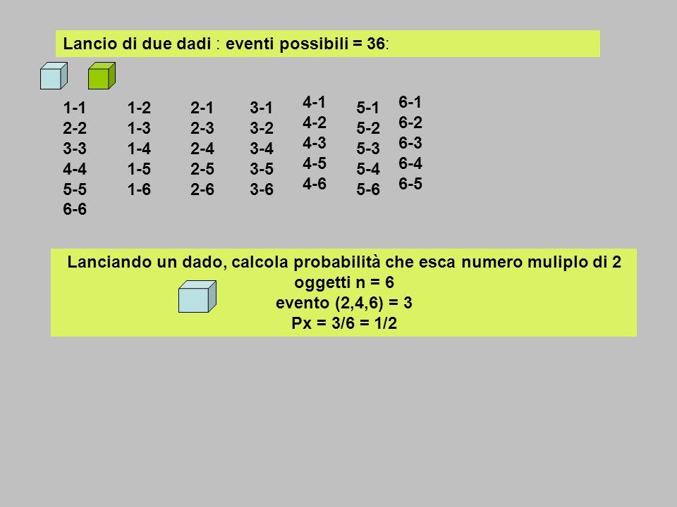 n = 90 oggetti uguali numerati da 1 a 90 presenti in urna: calcolare probabilità di estrarre numero dispari Pd (45 su 90) multiplo di 25 P25 (25,50,75) multiplo di 5 P5( 5,10,15,20,25,30,35,40,45,50.55.60,65,70,75,80,85,90), con due cifre uguali P2 (11,22,33,44,55,66,77,88) Pd = 45/90 = ½ P25 = 3/90 =1/30 P5 = 18 /90 = 2 /45 P2 = 8 /90 = 4 /45 1,2,3,4,5,6,7,8,9,10,11,12,13,14,15,16,17,18,19,20 21,22,23,24,25,26,27,28,29,30,31,32,33,34,35,36,37,38,39,40 41,42,43,44,45,46,47,48,49,50,51,52,53,54,55,56,57,58,59,60 61,62,63,64,65,66,67,68,69,70,71,72,73,74,75,76,77,78,79,80 81,82,83,84,85,86,87,88,89,90