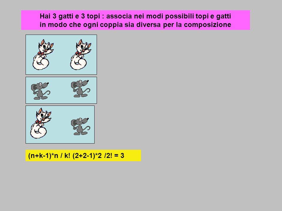 Hai 3 gatti e 3 topi : associa nei modi possibili topi e gatti in modo che ogni coppia sia diversa per la composizione (n+k-1)*n / k! (2+2-1)*2 /2! =