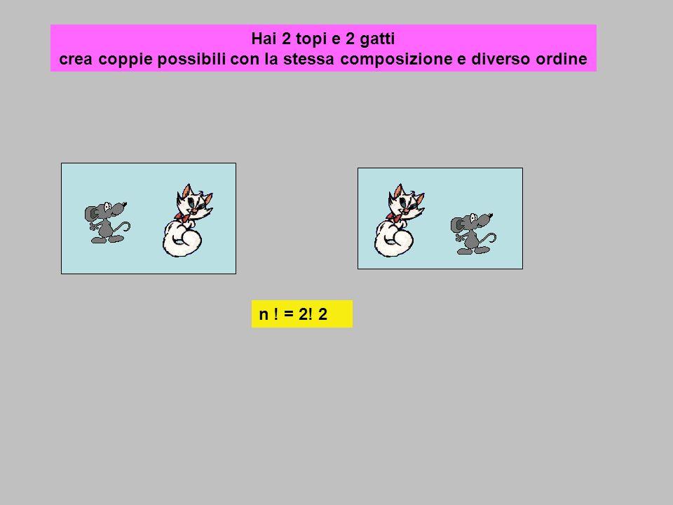 Hai 2 topi e 2 gatti crea coppie possibili con la stessa composizione e diverso ordine n ! = 2! 2