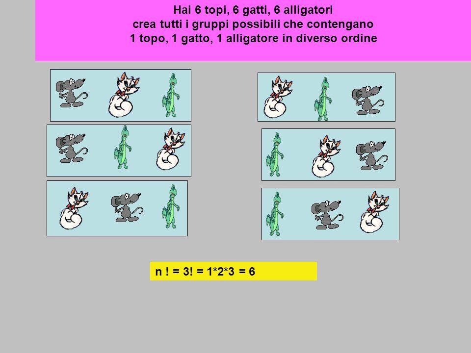 Hai 6 topi, 6 gatti, 6 alligatori crea tutti i gruppi possibili che contengano 1 topo, 1 gatto, 1 alligatore in diverso ordine n ! = 3! = 1*2*3 = 6