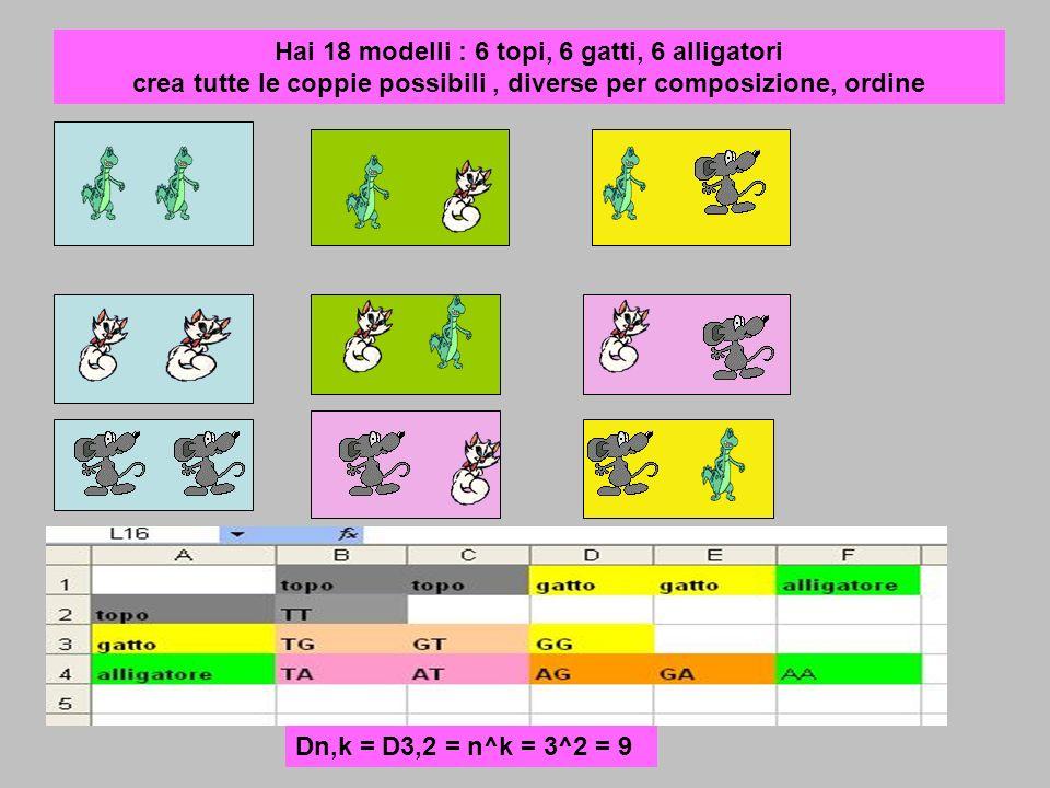 Hai 18 modelli : 6 topi, 6 gatti, 6 alligatori crea tutte le coppie possibili, diverse per composizione, ordine Dn,k = D3,2 = n^k = 3^2 = 9