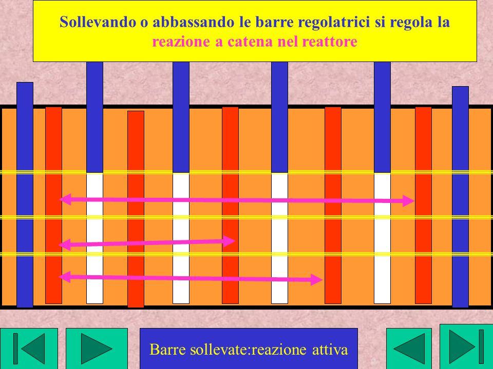 Barre sollevate:reazione attiva Sollevando o abbassando le barre regolatrici si regola la reazione a catena nel reattore