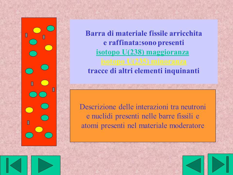 Barra di materiale fissile arricchita e raffinata:sono presenti isotopo U(238) maggioranza isotopo U(235) minoranza tracce di altri elementi inquinanti Descrizione delle interazioni tra neutroni e nuclidi presenti nelle barre fissili e atomi presenti nel materiale moderatore