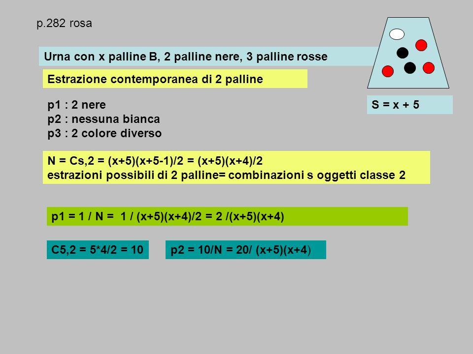 Urna con x palline B, 2 palline nere, 3 palline rosse Estrazione contemporanea di 2 palline p1 : 2 nere p2 : nessuna bianca p3 : 2 colore diverso S =