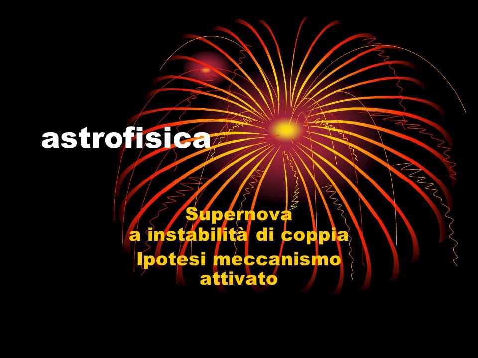 astrofisica Supernova a instabilità di coppia Ipotesi meccanismo attivato