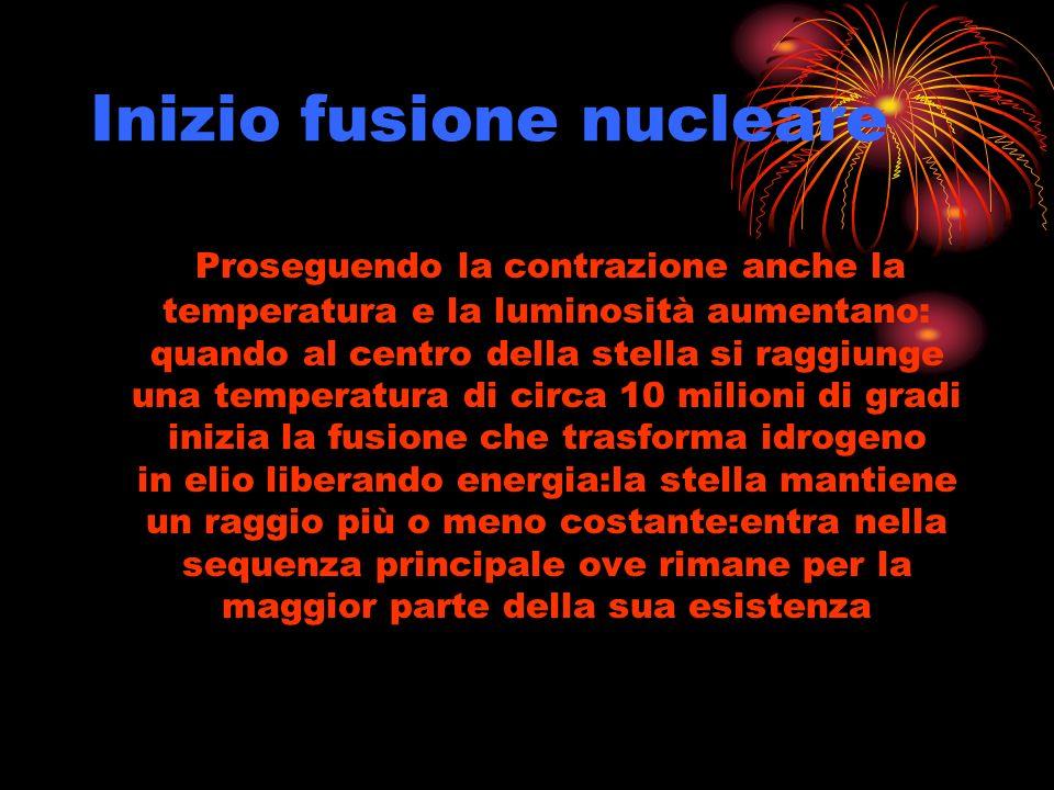 Inizio fusione nucleare Proseguendo la contrazione anche la temperatura e la luminosità aumentano: quando al centro della stella si raggiunge una temp