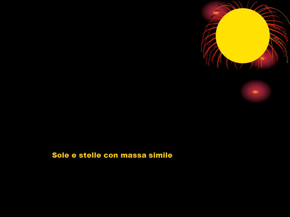 Evoluzione stella con massa simile a quella solare La massa limitata permette una contrazione e aumento centrale di temperatura sufficiente solo per la fusione di idrogeno in elio La stella diventerà una gigante rossa > perderà molta massa con vento solare> > nebulosa planetaria (con nana bianca) > > nana nera