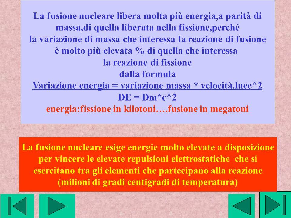 La fusione nucleare libera molta più energia,a parità di massa,di quella liberata nella fissione,perché la variazione di massa che interessa la reazio