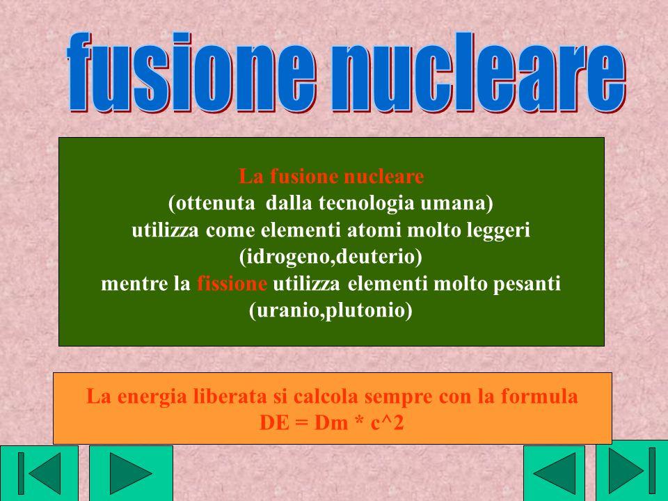 La fusione nucleare (ottenuta dalla tecnologia umana) utilizza come elementi atomi molto leggeri (idrogeno,deuterio) mentre la fissione utilizza eleme