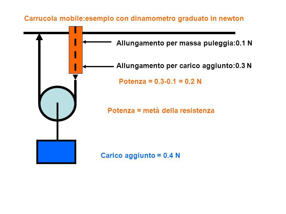 Carrucola mobile:esempio con dinamometro graduato in newton Allungamento per carico aggiunto:0.3 N Allungamento per massa puleggia:0.1 N Carico aggiun