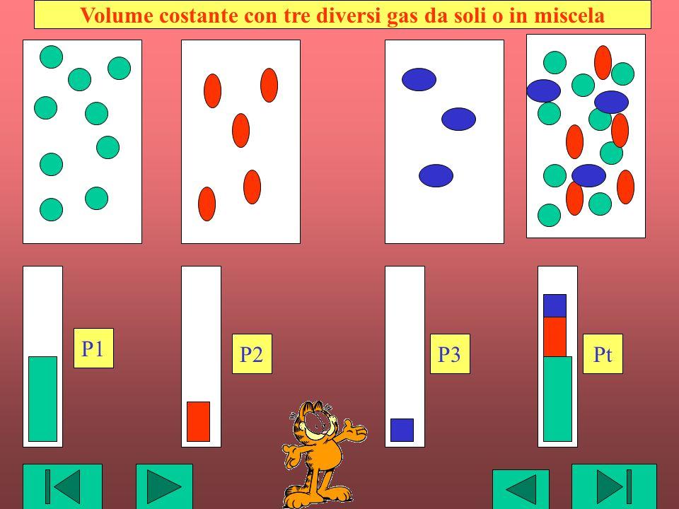 P1 Pt P2P3 Volume costante con tre diversi gas da soli o in miscela