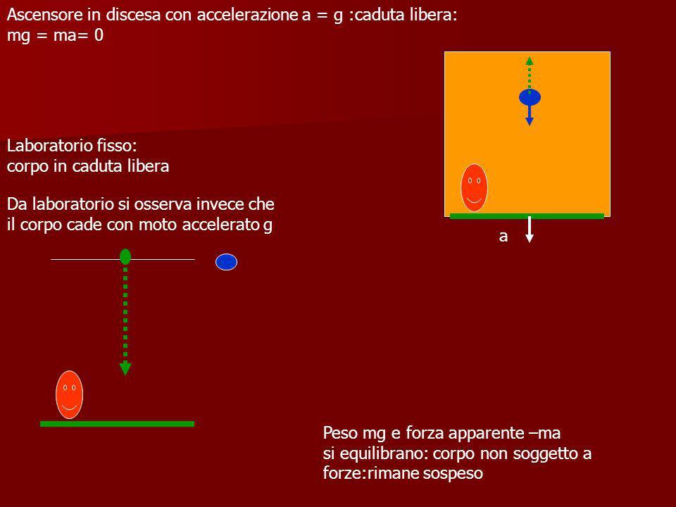 Laboratorio fisso: corpo in caduta libera Ascensore in discesa con accelerazione a = g :caduta libera: mg = ma= 0 Peso mg e forza apparente –ma si equ