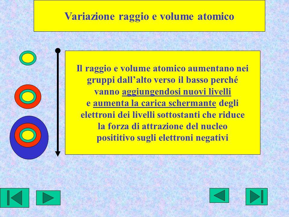 Variazione raggio e volume atomico Il raggio e volume atomico aumentano nei gruppi dallalto verso il basso perché vanno aggiungendosi nuovi livelli e aumenta la carica schermante degli elettroni dei livelli sottostanti che riduce la forza di attrazione del nucleo posititivo sugli elettroni negativi