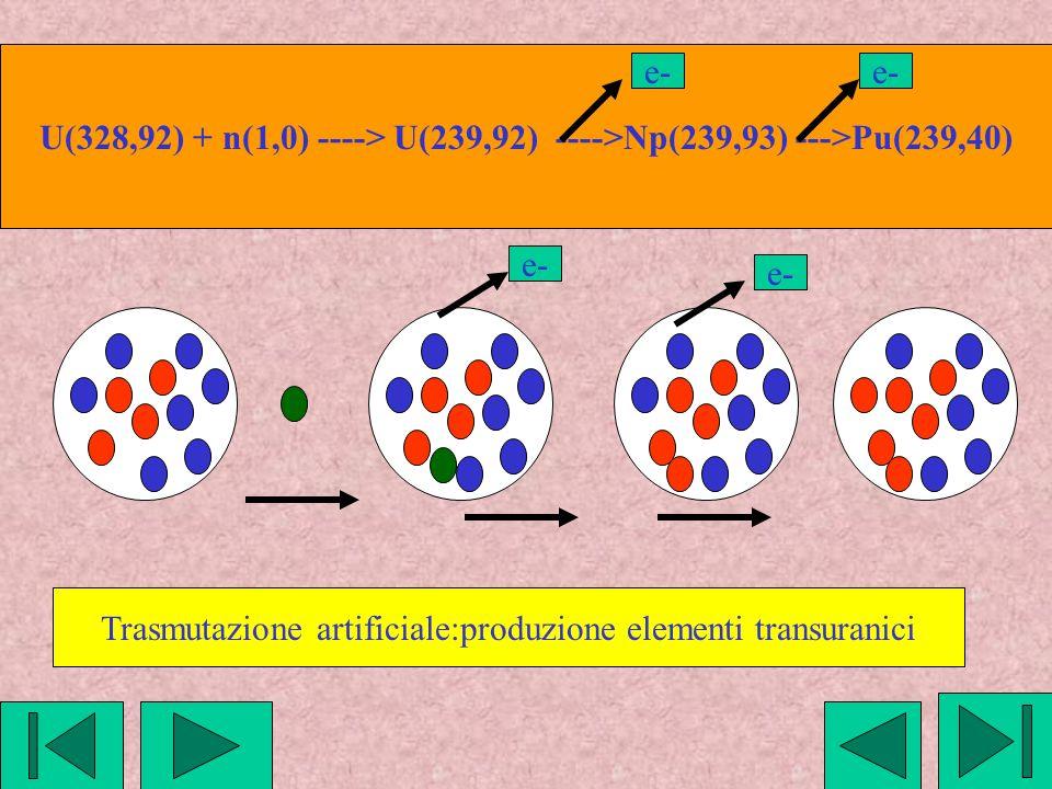 U(328,92) + n(1,0) ----> U(239,92) ---->Np(239,93) --->Pu(239,40) e- Trasmutazione artificiale:produzione elementi transuranici